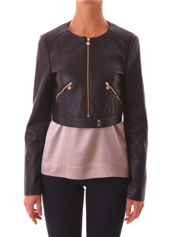 LIU JO Clothing Women Faux leather jacket MORO C66228 E0354 D6